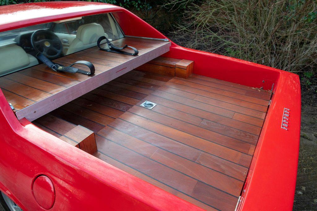 1985 Ferrari 412 Custom Pickup rear bed wood closeup