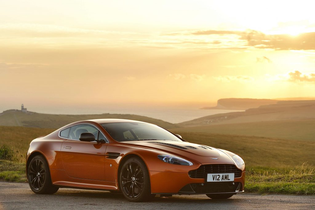 Aston Martin Vantage front three-quarter sunset