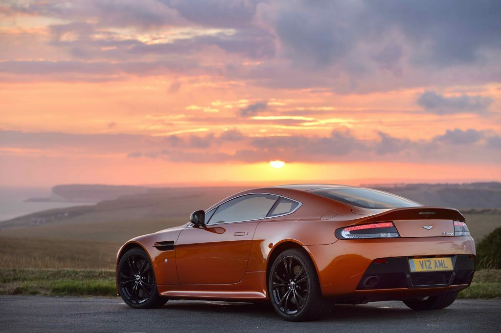 Aston Martin Vantage rear three-quarter sunset