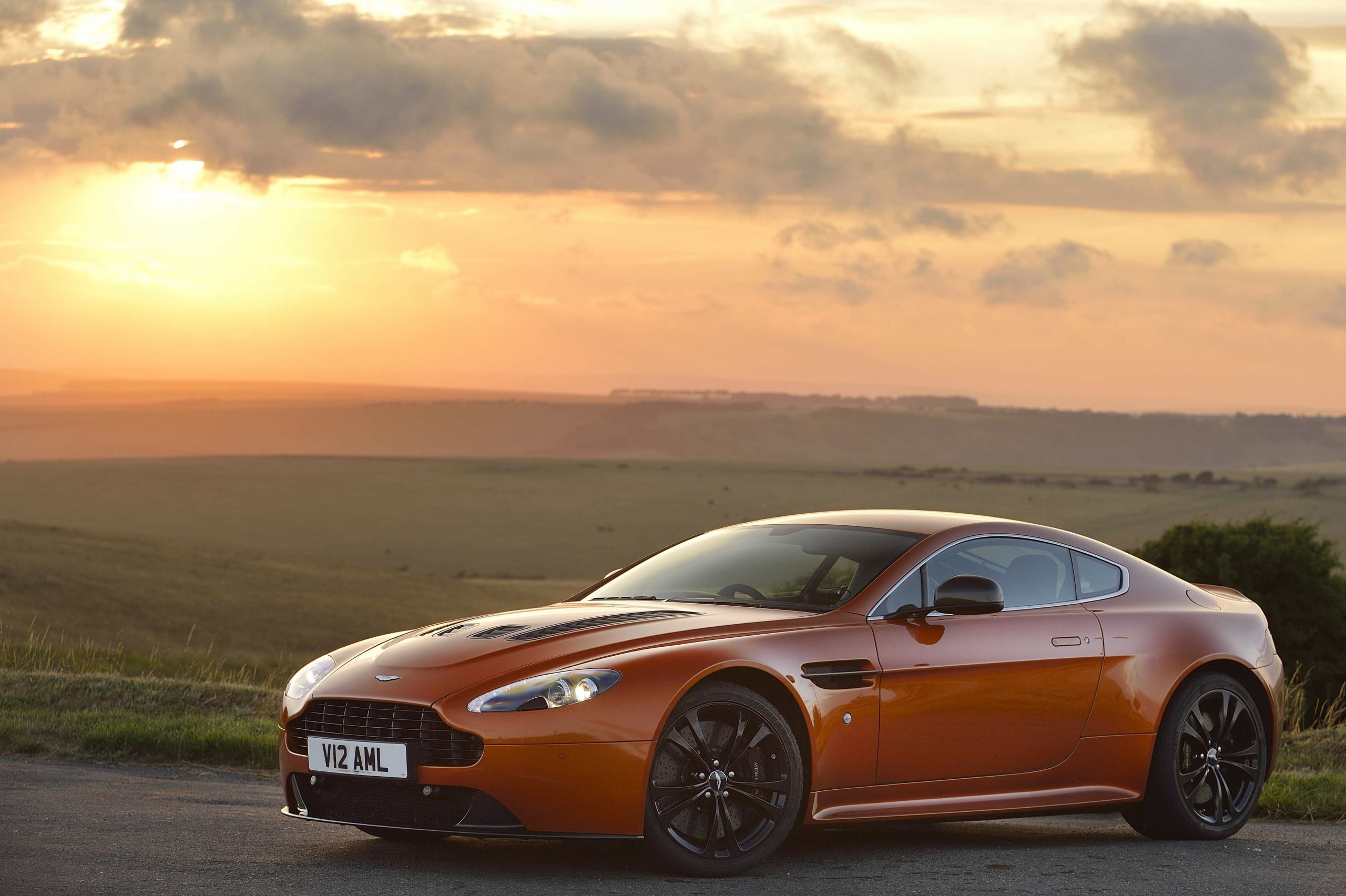 Aston Martin Vantage front three-quarter sunrise