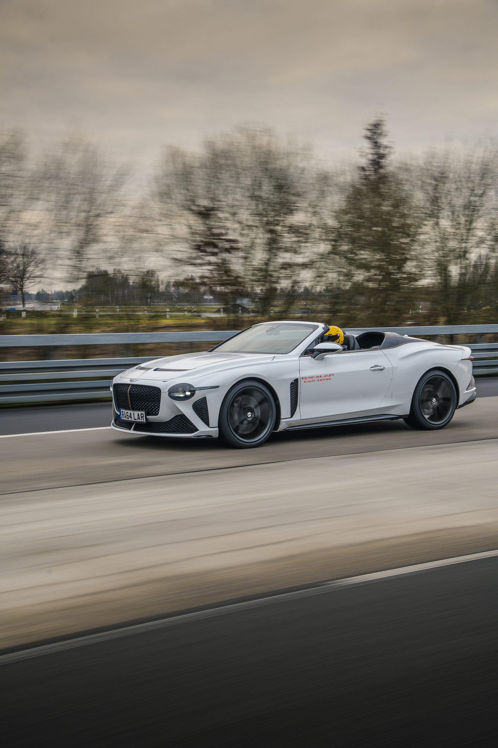 Bentley Bacalar CarZero front three-quarter dynamic action