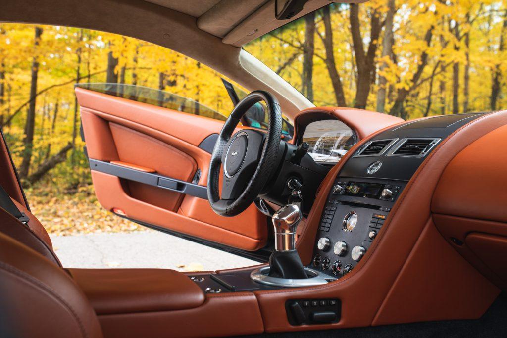 Aston Martin Vantage interior front dash angled