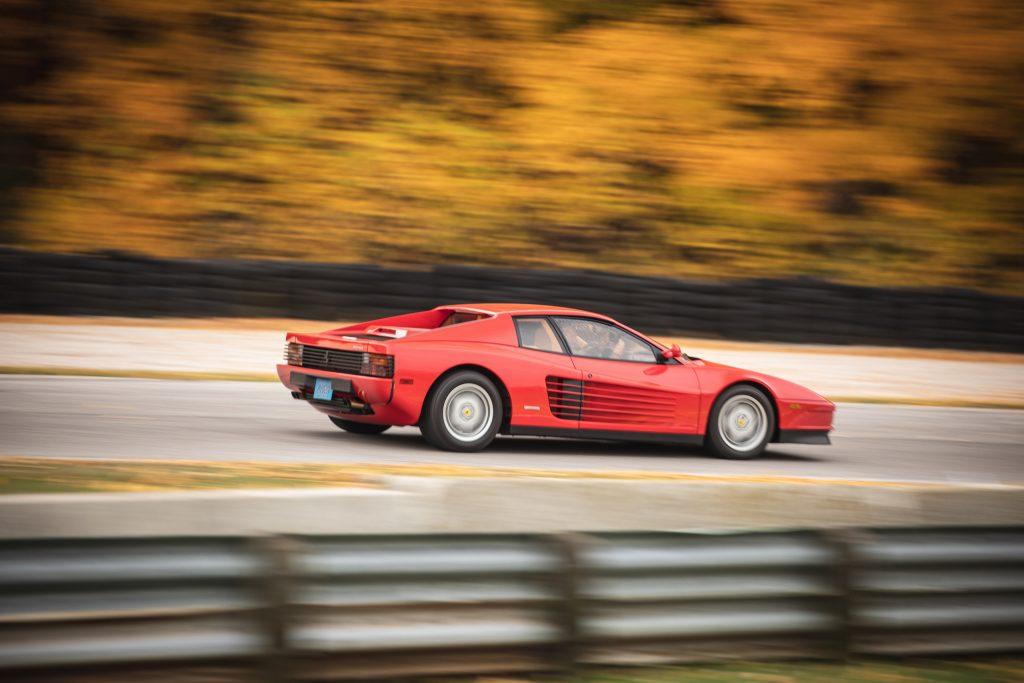 Ferrari Testarossa rear three-quarter dynamic on track action