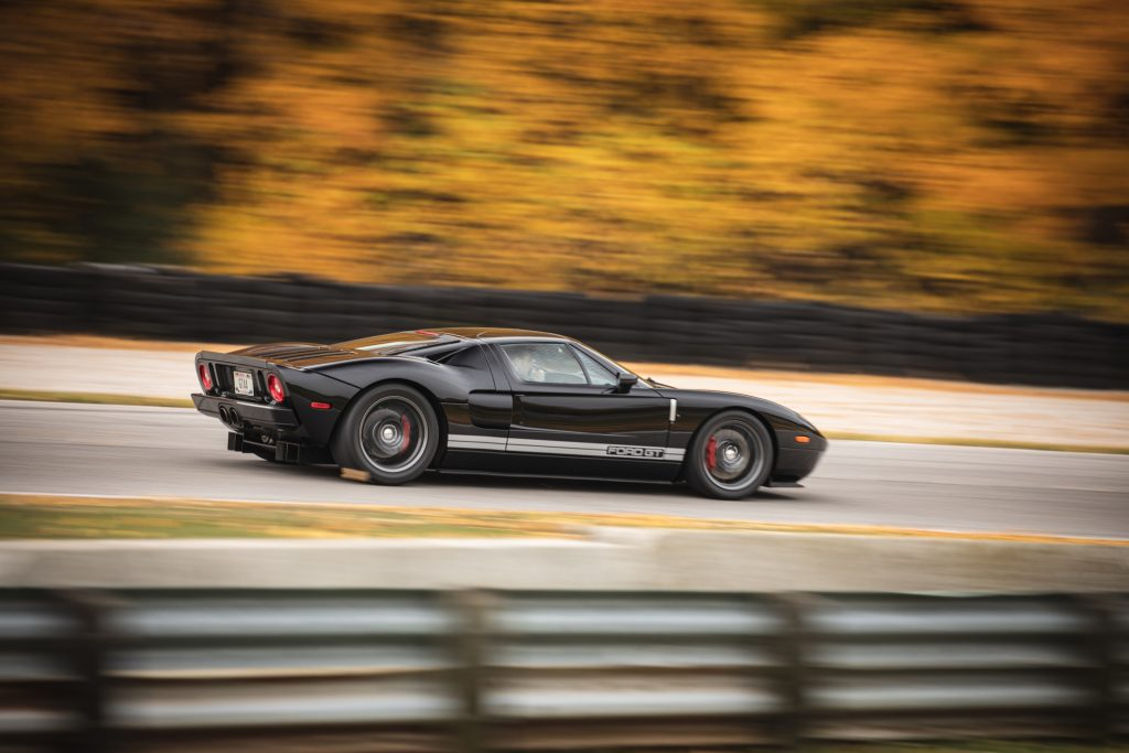Ford GT side profile on track dynamic action