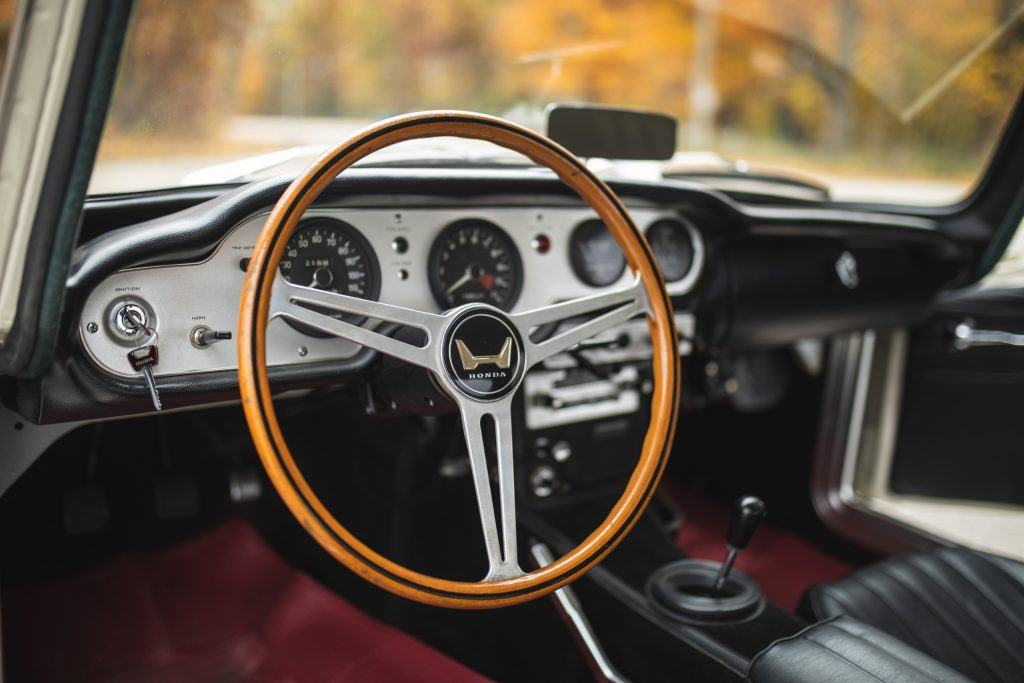 Honda S600 interior steering wheel