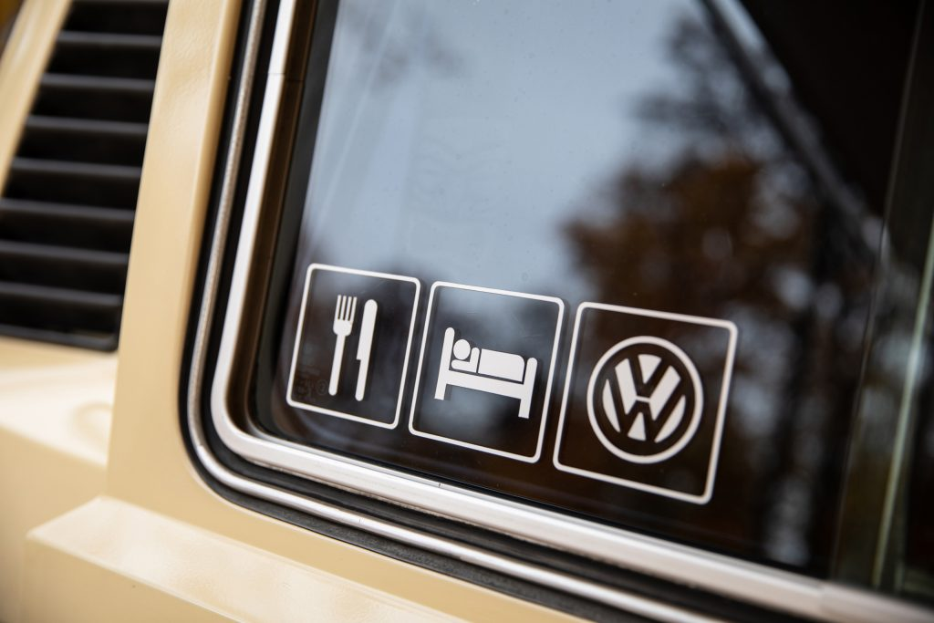 Volkswagen Vanagon sticker detail on glass