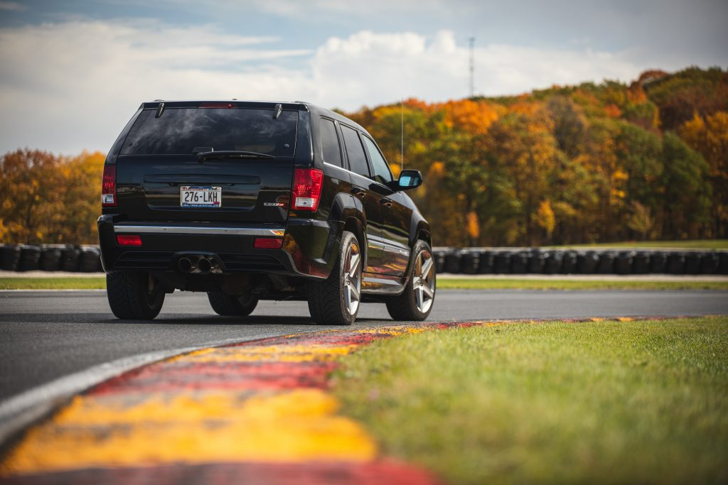 Jeep Grand Cherokee SRT8 rear three-quarter on track