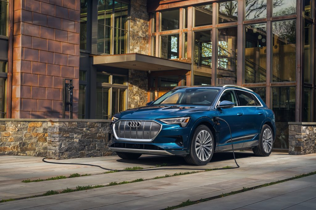 2021 Audi etron on charger front three-quarter