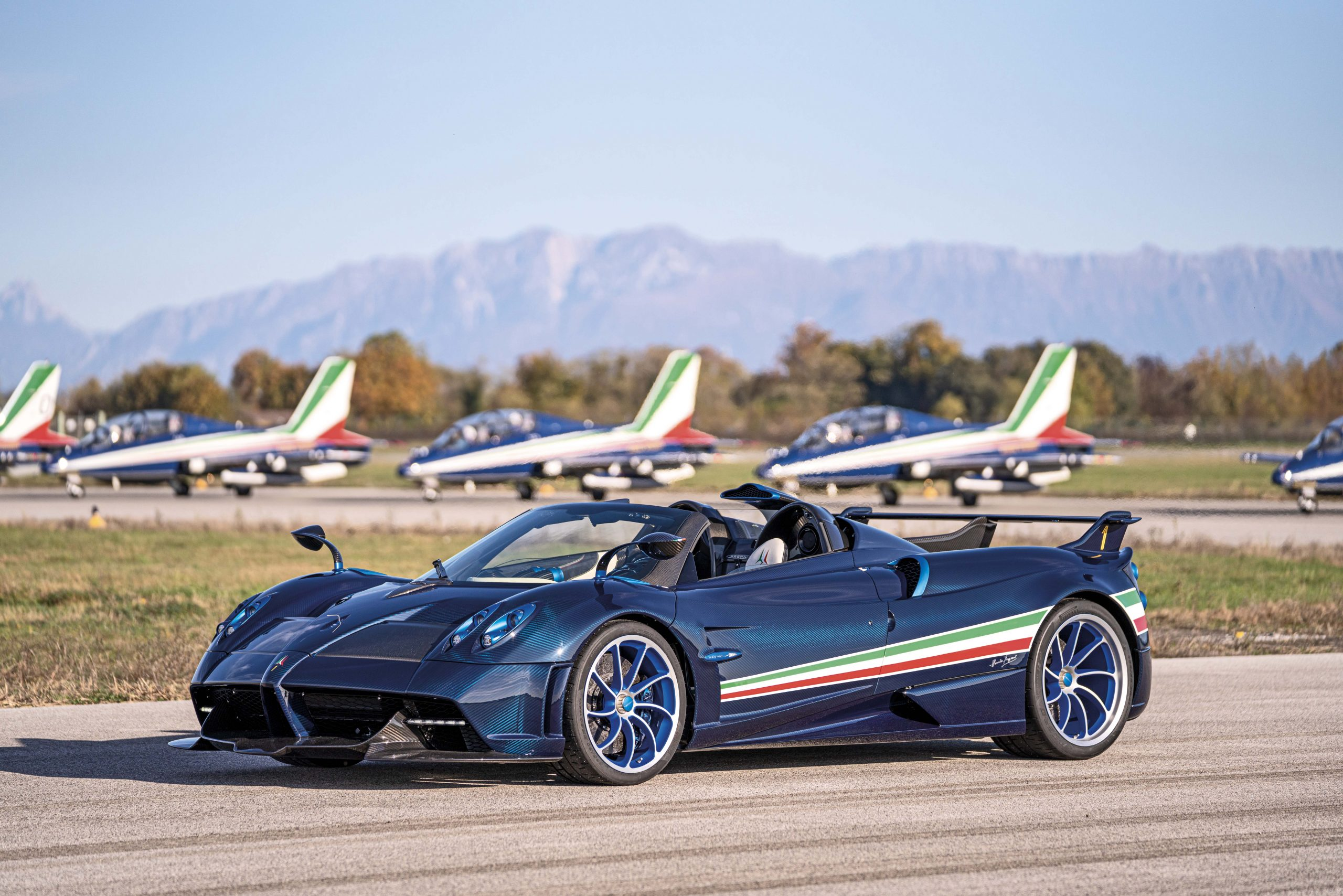Pagani Huayra Tricolore front three-quarter on tarmac