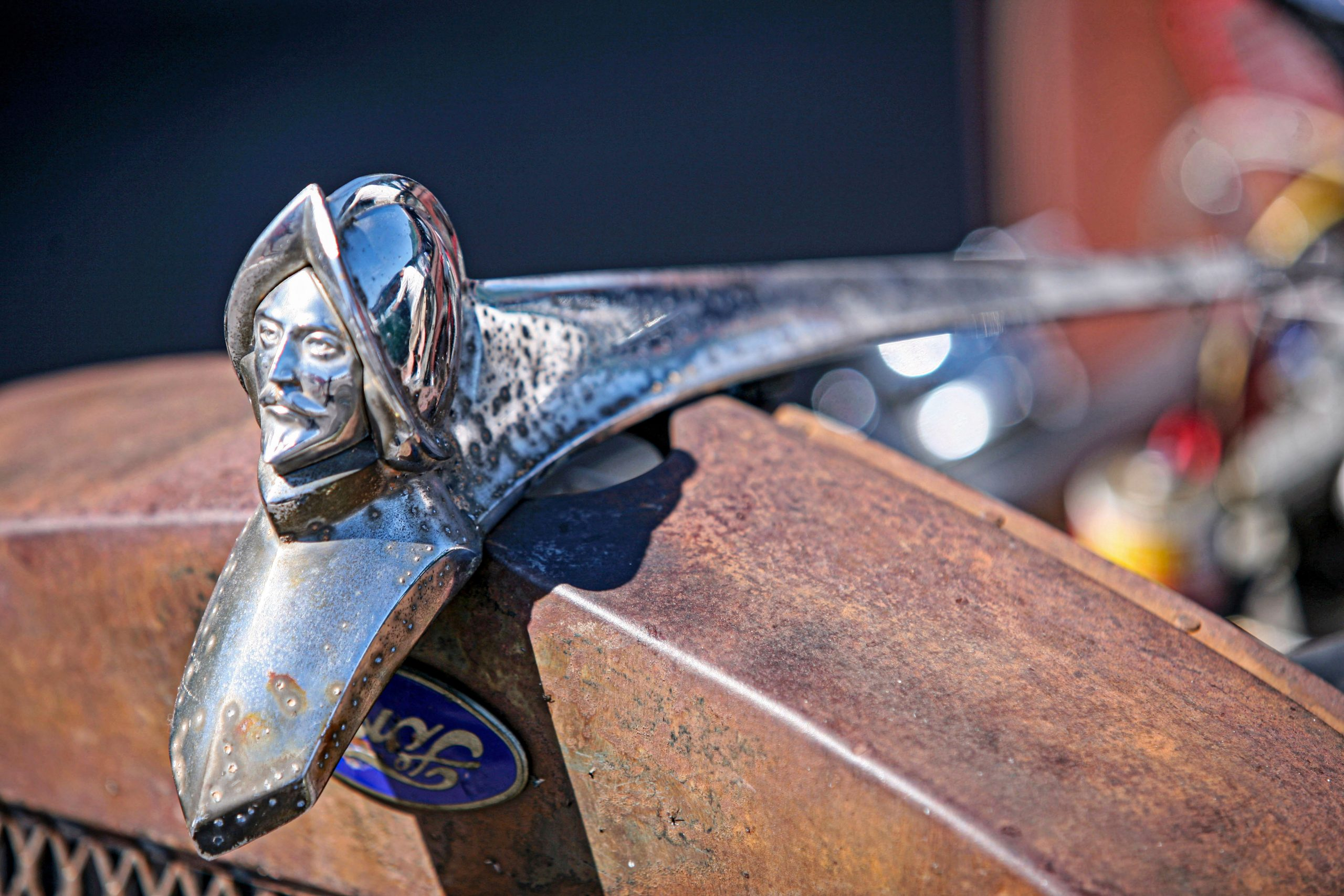Desoto hood ornament on a Ford Model A