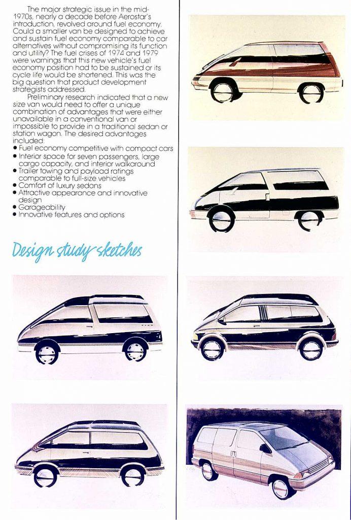 Ford Aerostar Van design study sketches