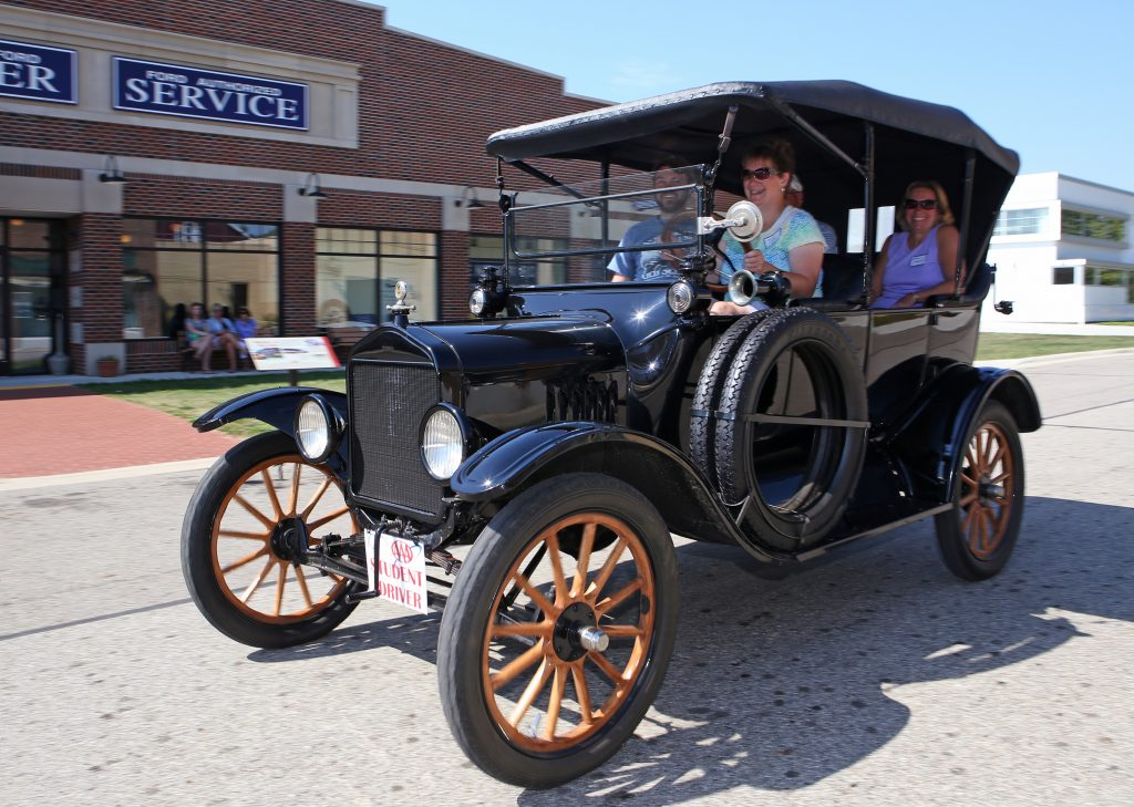 Ford Model T students driving front three-quarter action