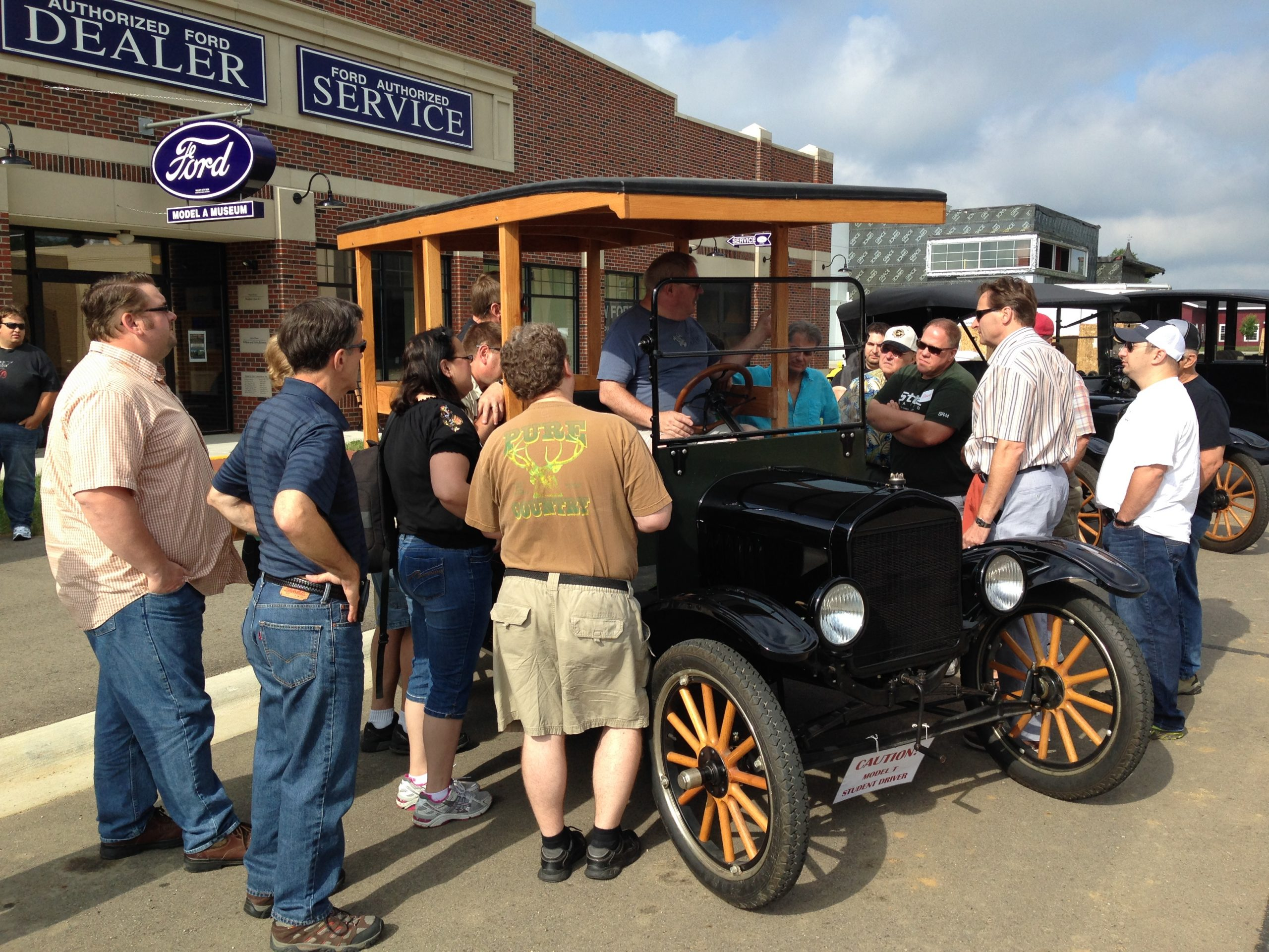 Ford Model T driving students