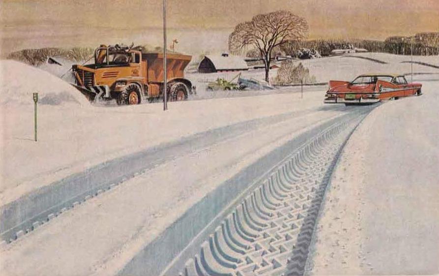 Goodyear Suburbanites plow truck and sedan snow tread illustration