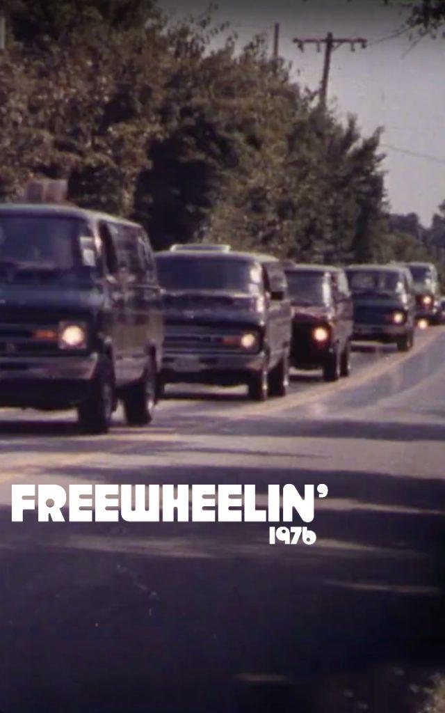 1976 Free Wheelin vans on road poster brochure ad art