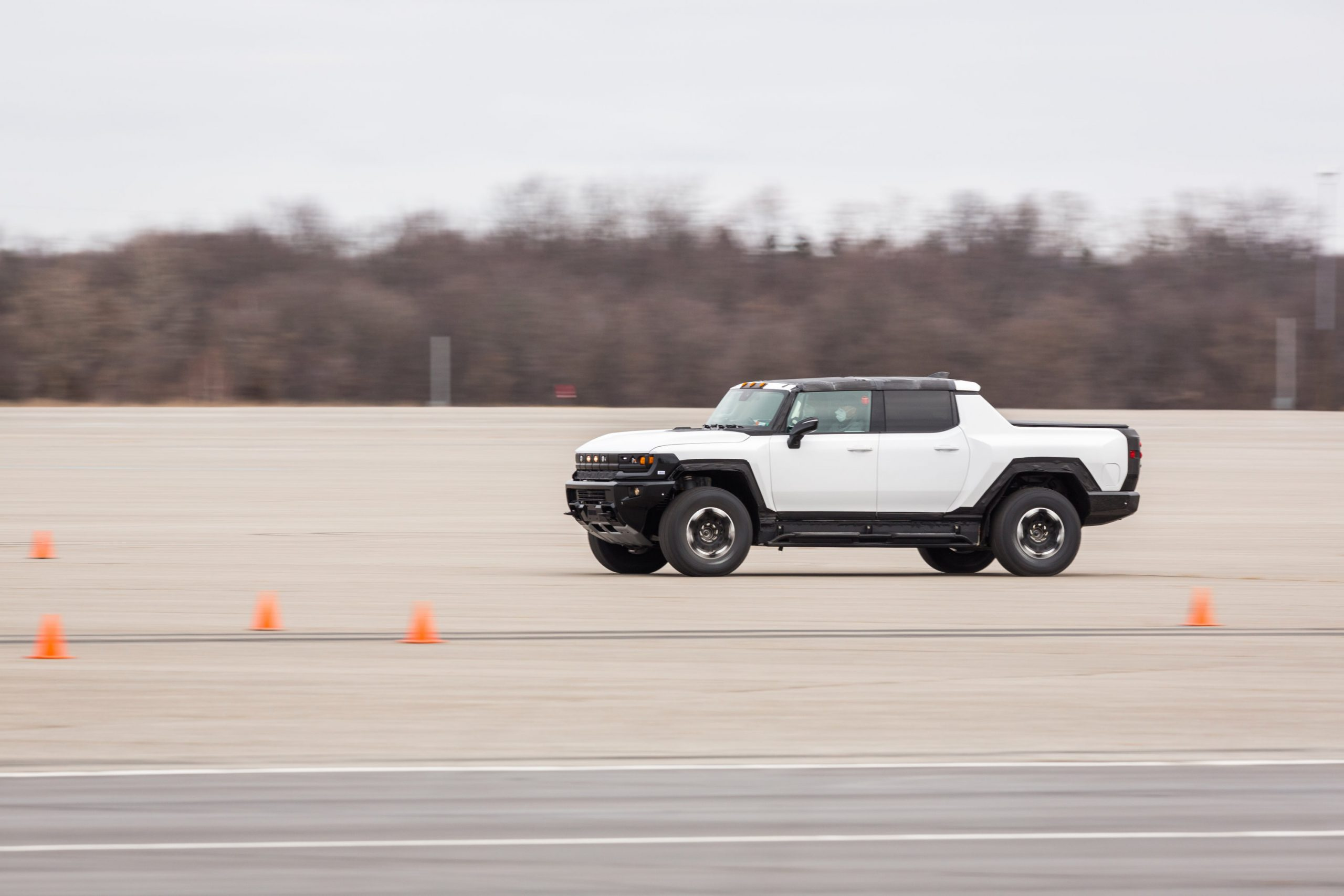 GMC HUMMER EV front three-quarter Milford Proving Grounds action