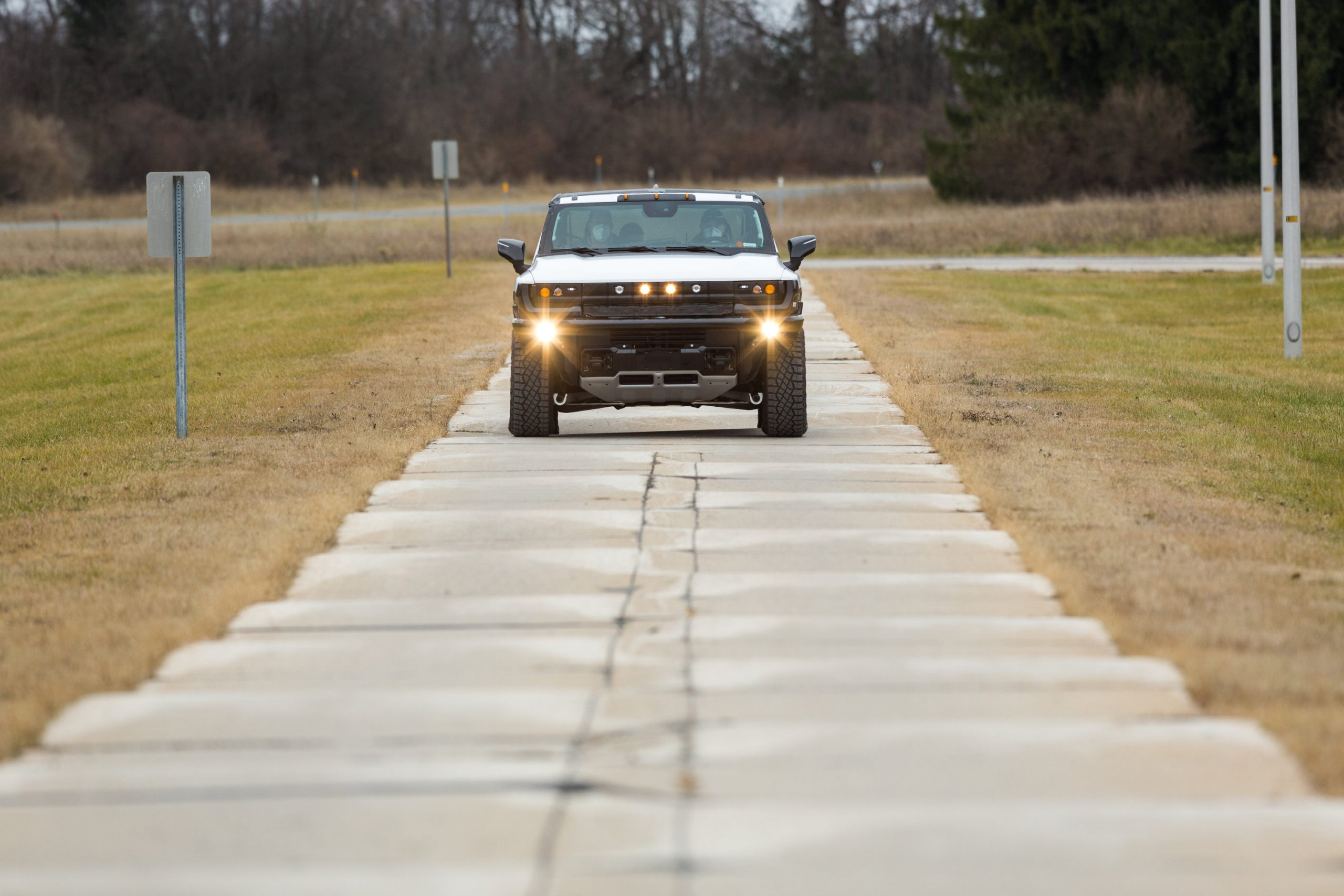 GMC HUMMER EV front Milford Proving Grounds action