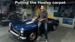 Tearing out the Austin Healey's nasty carpet | Kyle's Garage ep 25