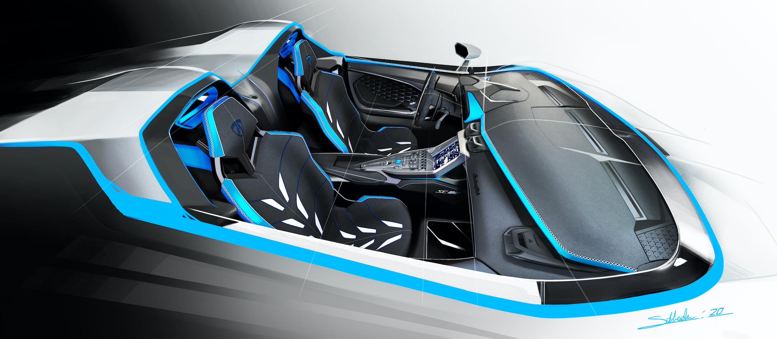 Lamborghini SC20 interior seat accents