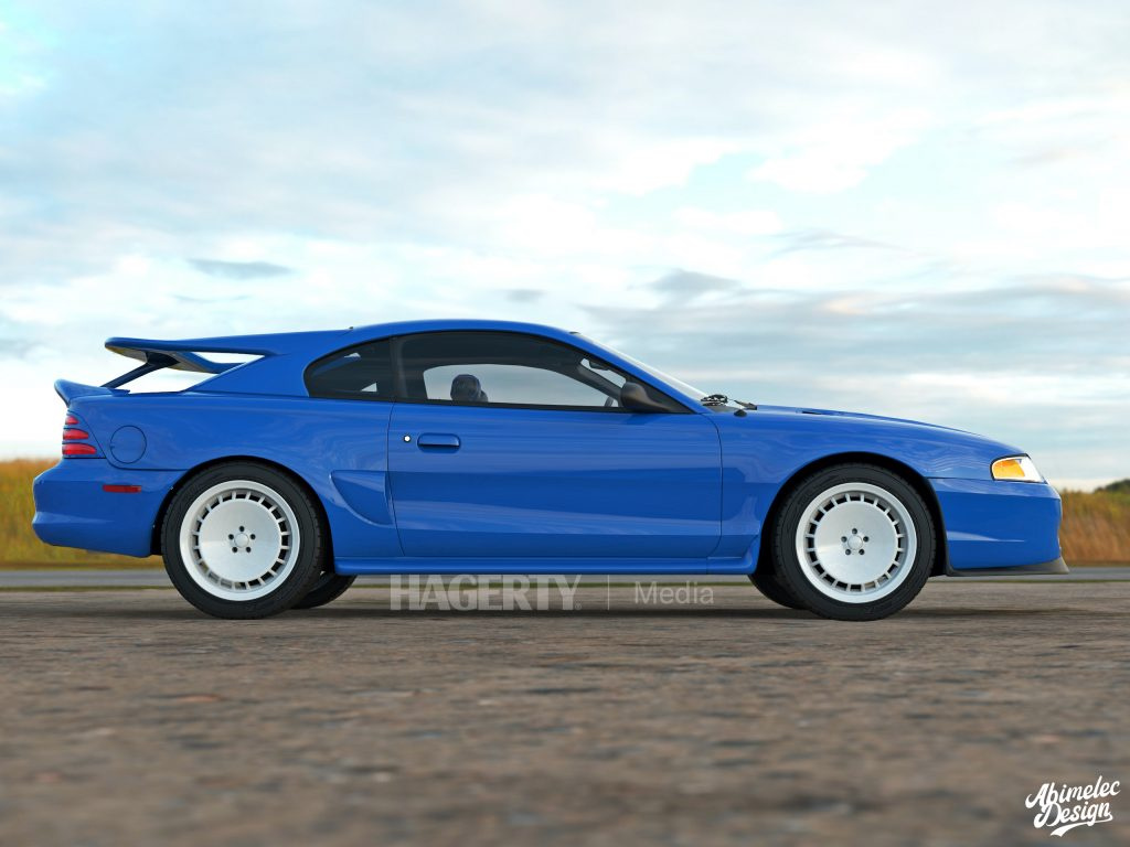 Mustang Cosworth blue side profile