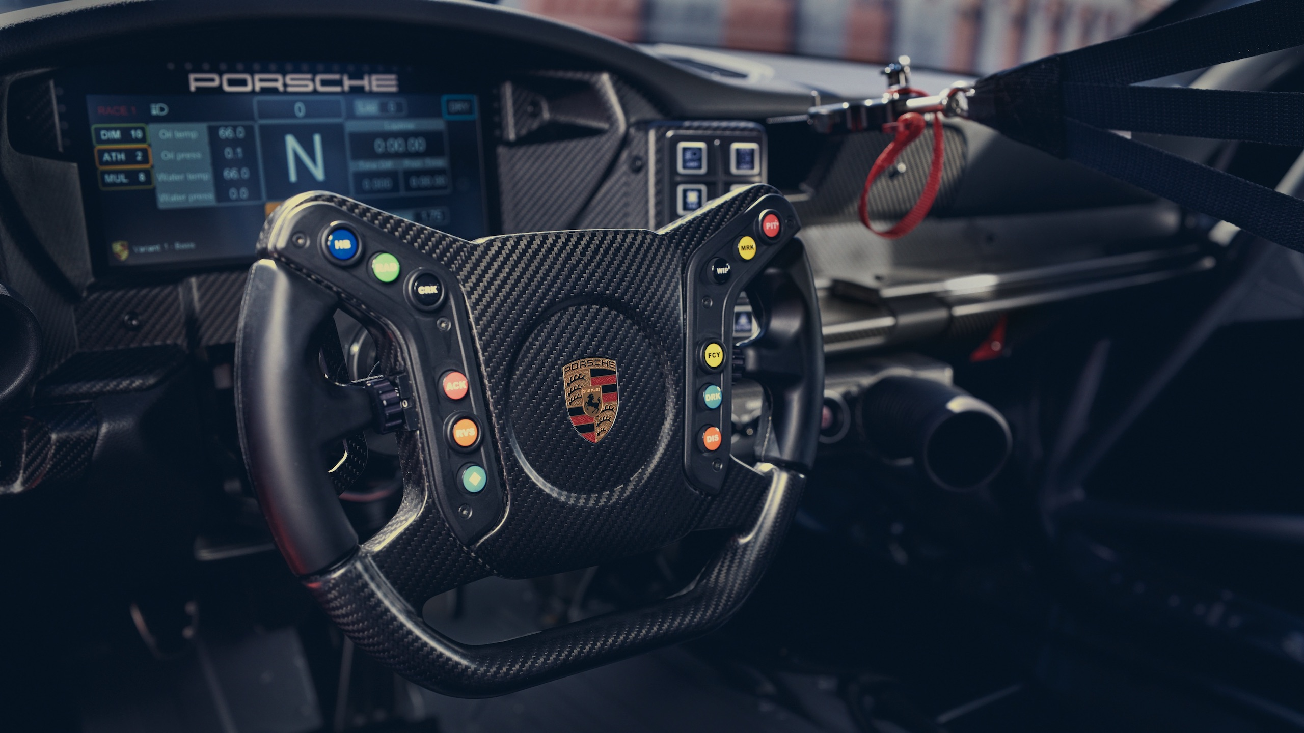 Porsche 911 GT3 interior steering wheel detail