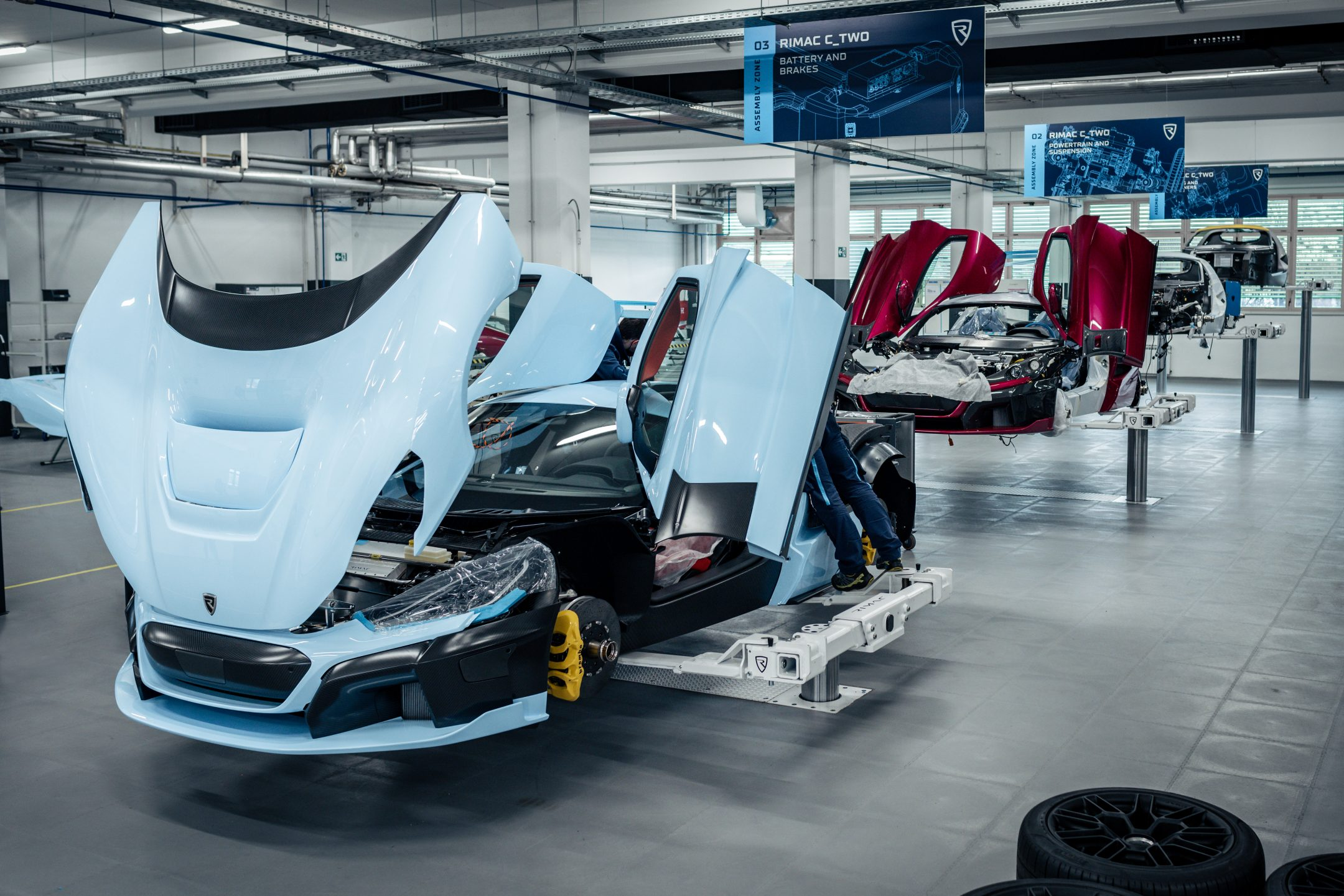 Rimac C_Two assembly line front three-quarter