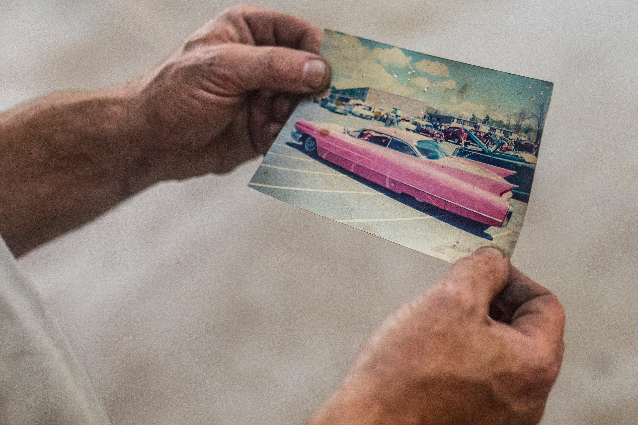 ida holding vintage pink custom hot rod photo