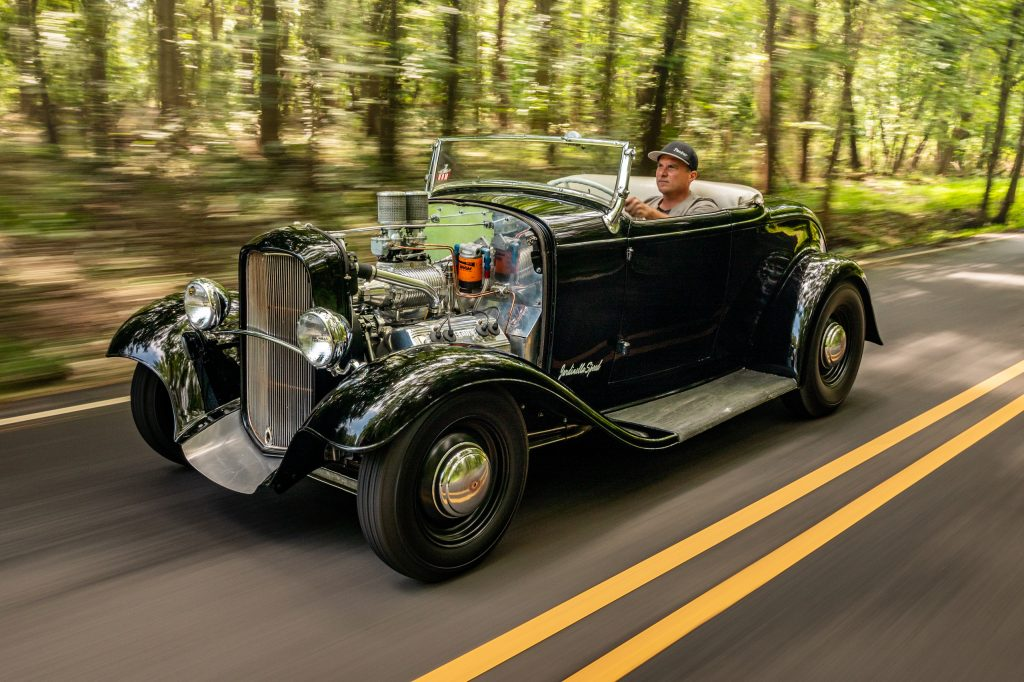 custom hod rod coupe roadster front three-quarter dynamic action