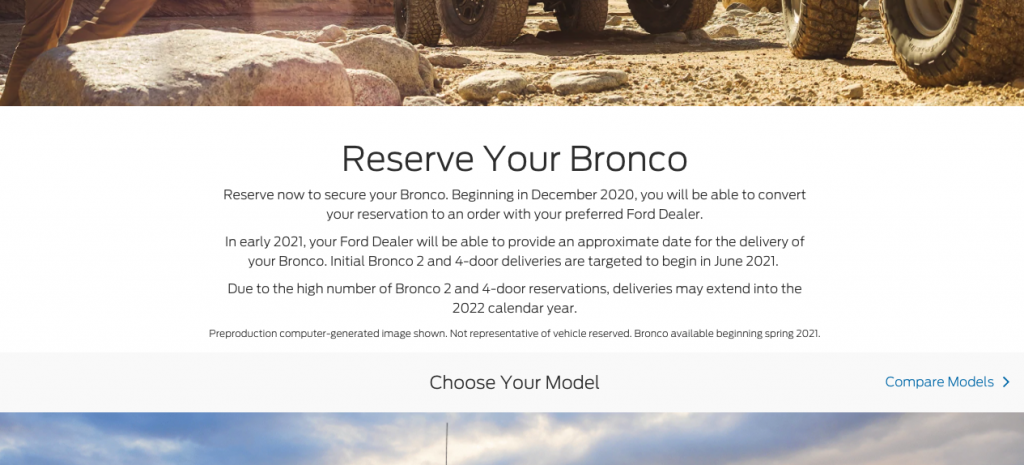 ford bronco reservation delay summer 2021