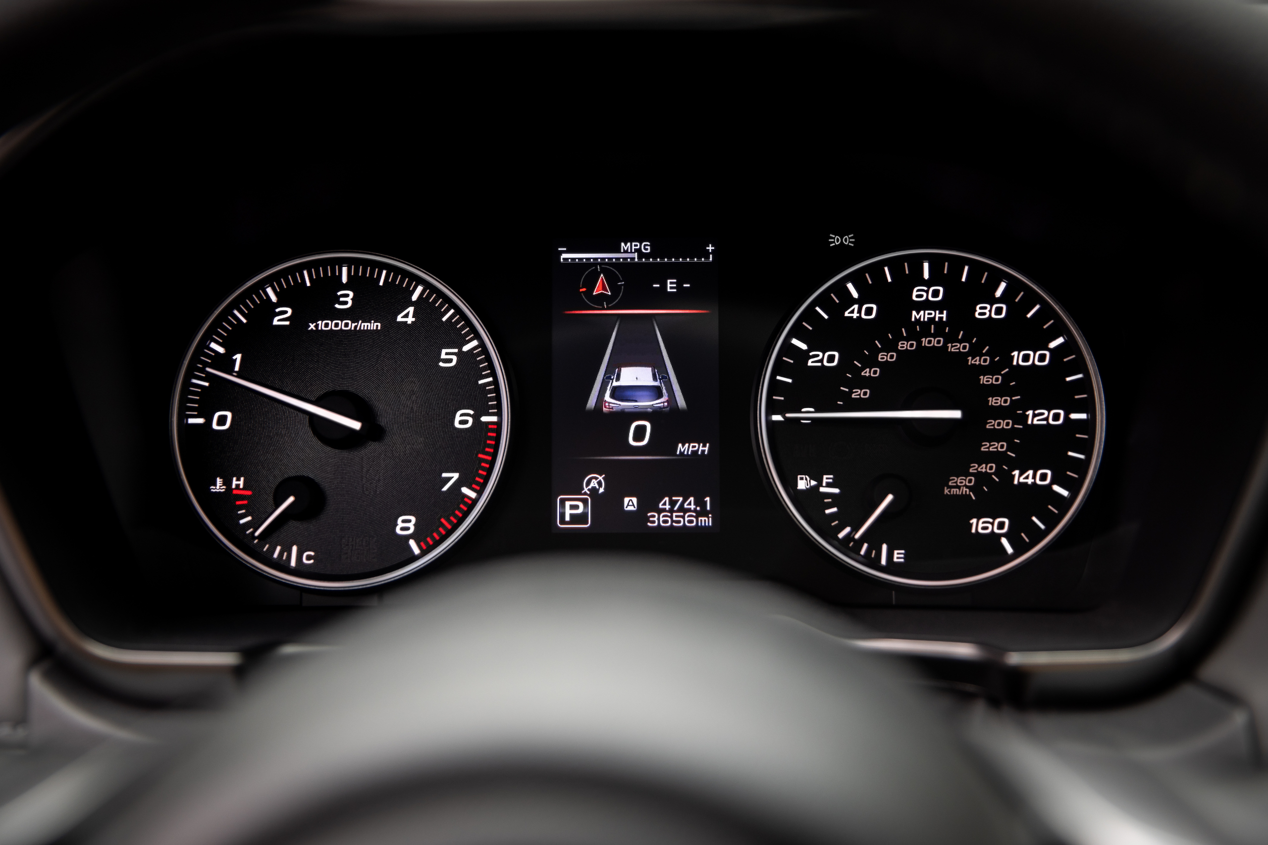 Subaru Outback dash cluster gauges detail