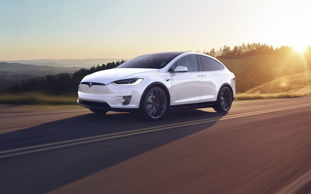 Tesla Model X front three-quarter dynamic action