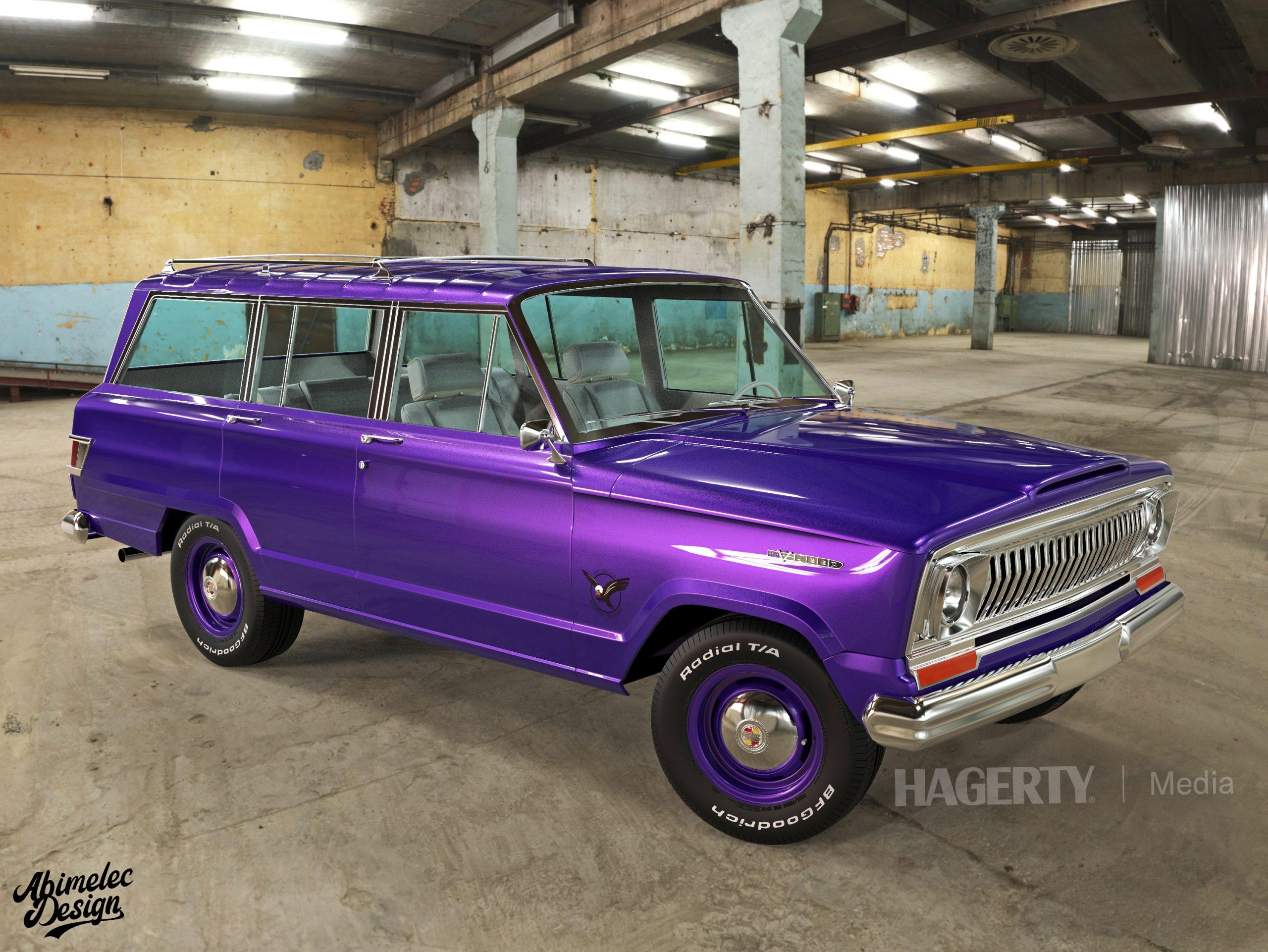 Wagoneer Trackhawk purple front three-quarter