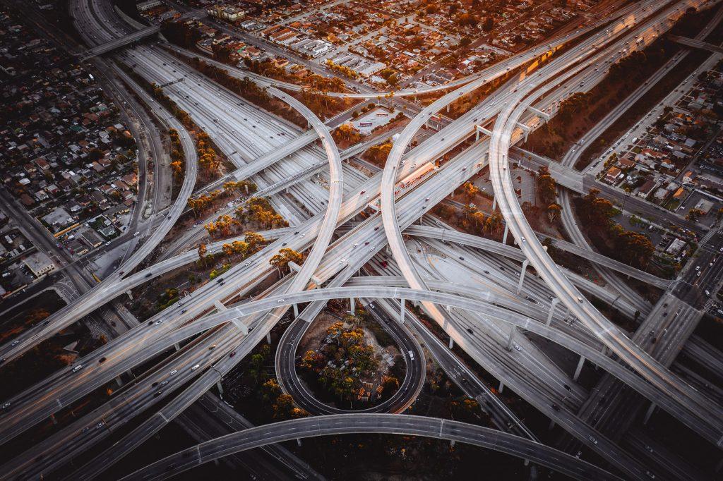 los angeles LA highway traffic interchange