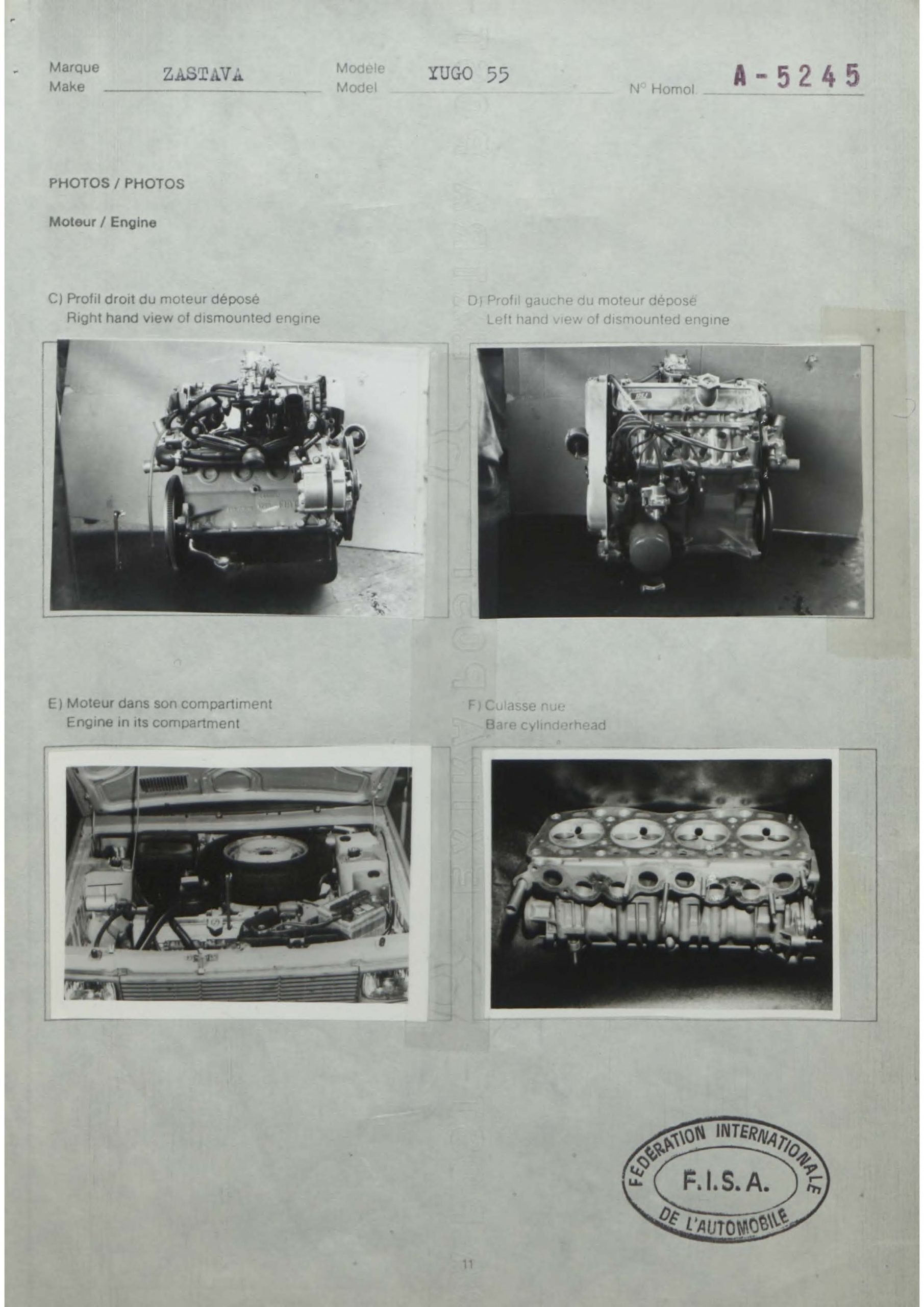 yugo homologation form engine