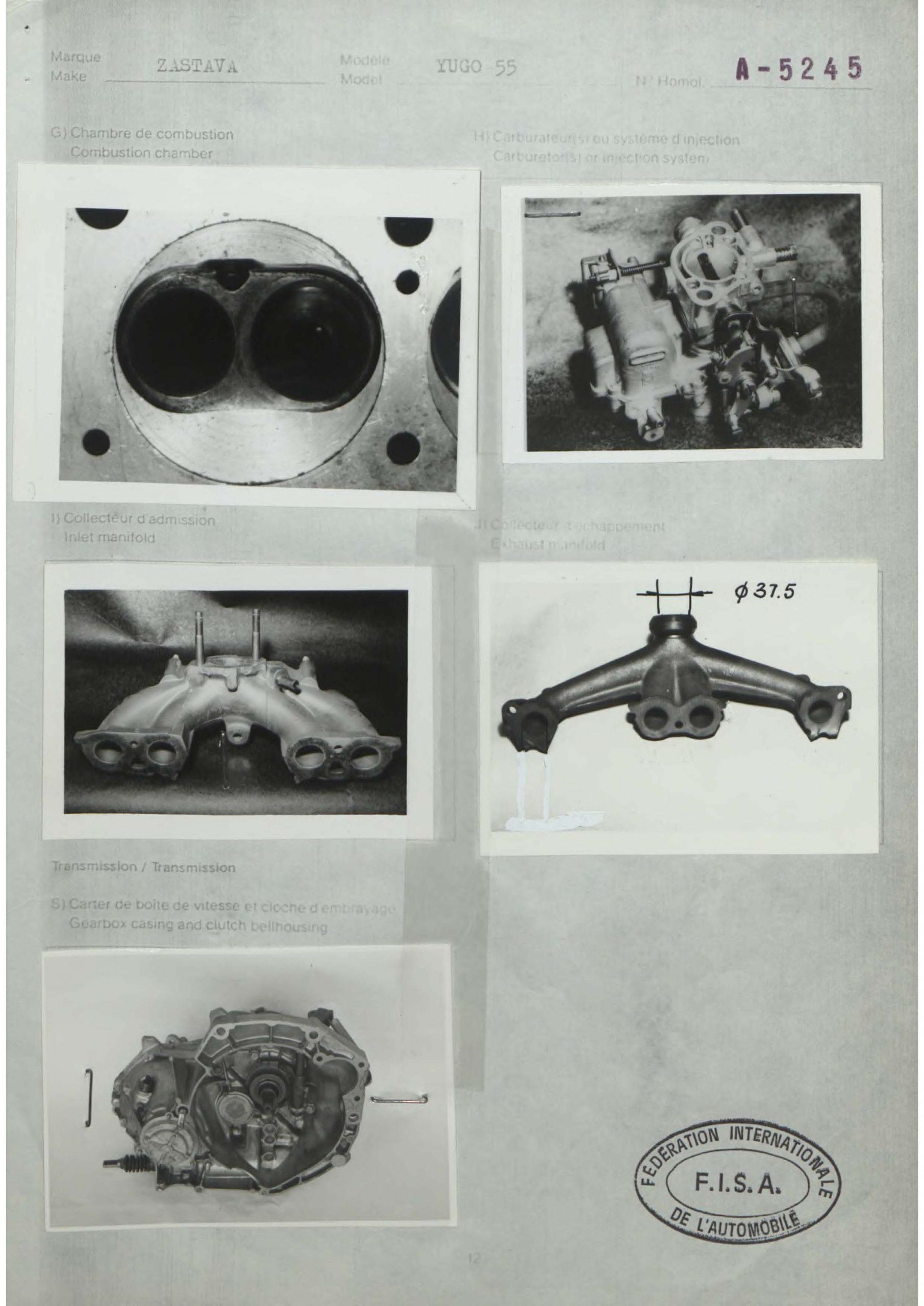 yugo homologation form valves