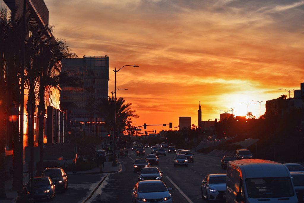 LA los angeles traffic sunset