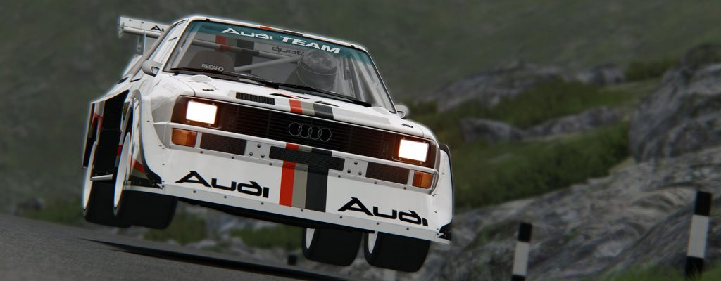 gran turismo audi rally car catching air game action