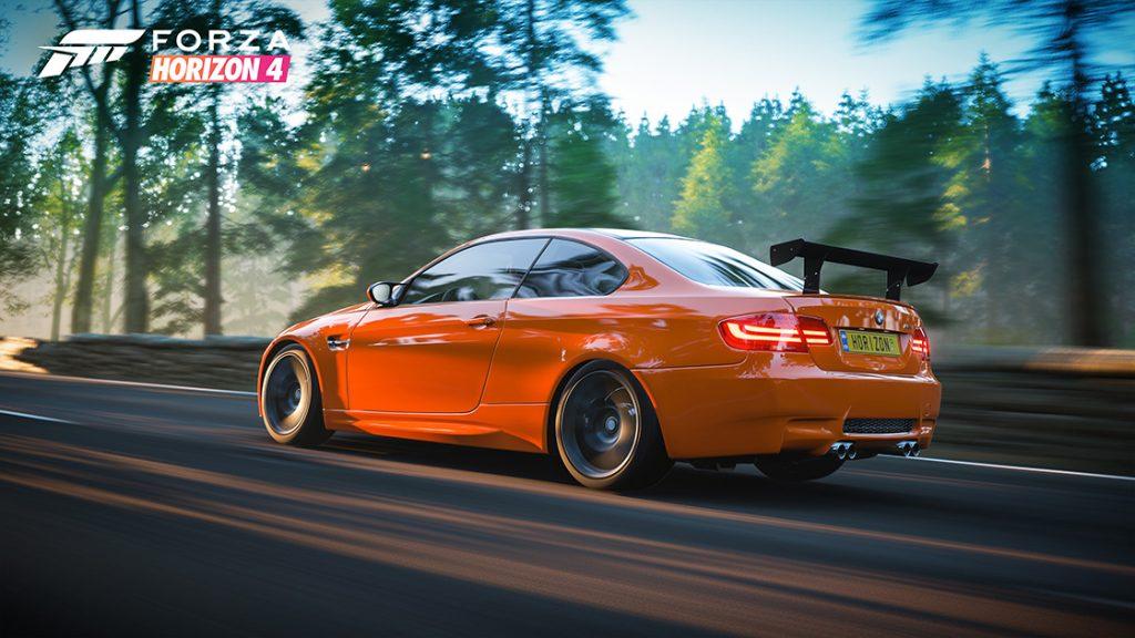 Forza Horizon 4 racing simulation game bmw rear three-quarter graphic render action