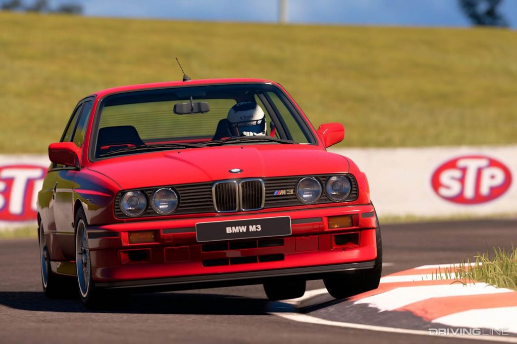 gran turismo red bmw m3 race car front clipping apex graphic action
