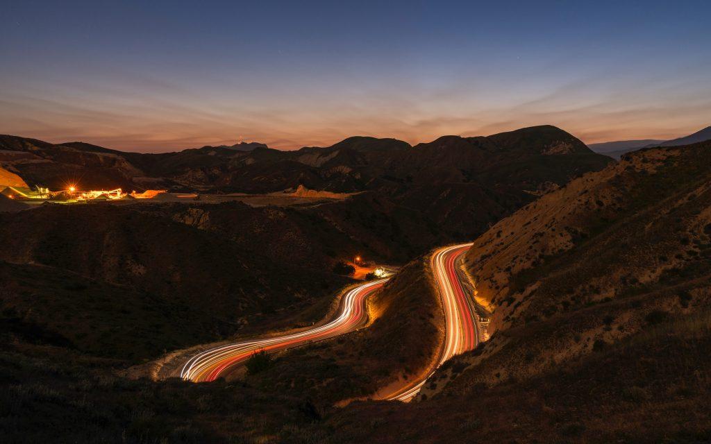 canyon california road light trails ventura county