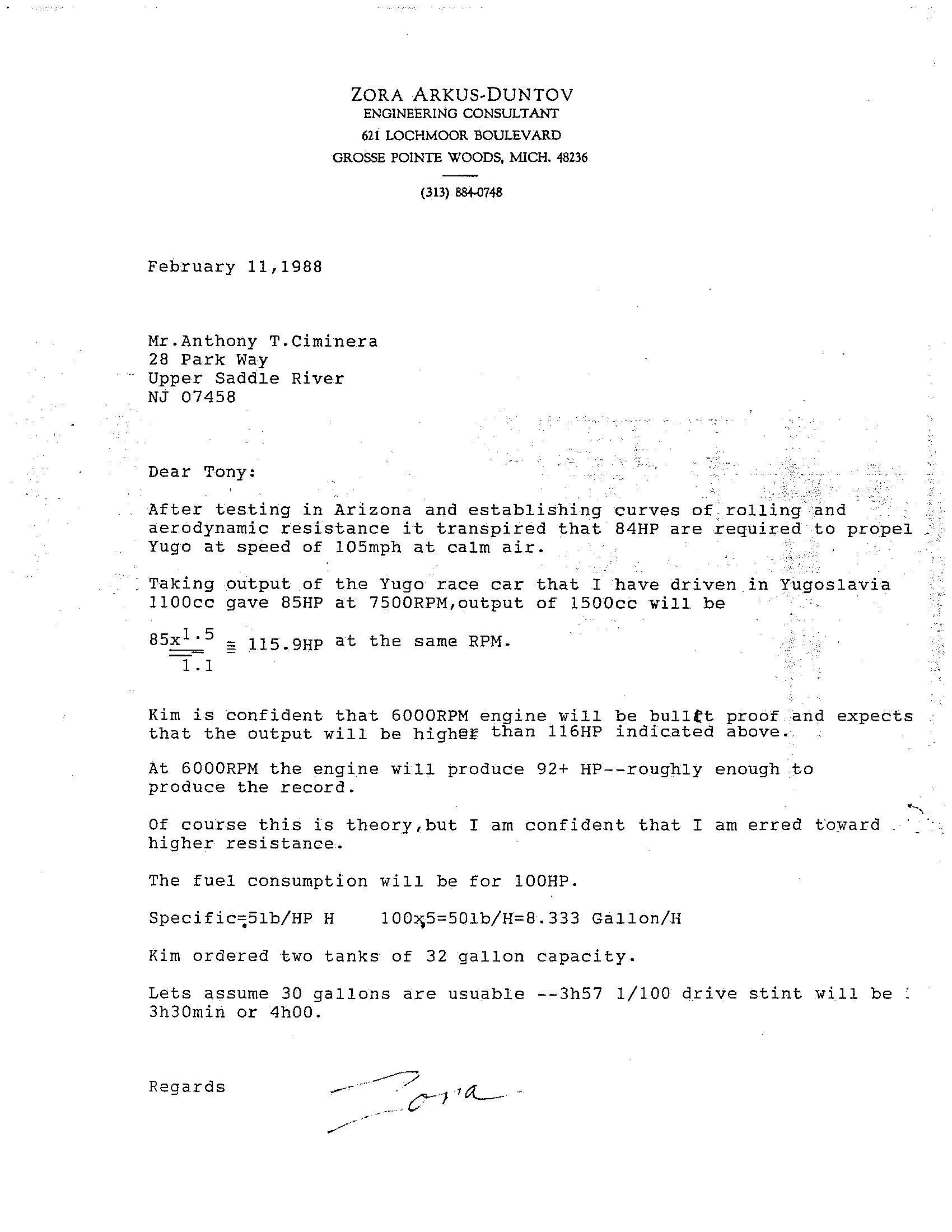 Zora Arkus-Duntov yugo Ciminera letter