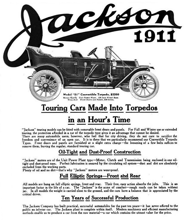 1911 Jackson Automobile ad