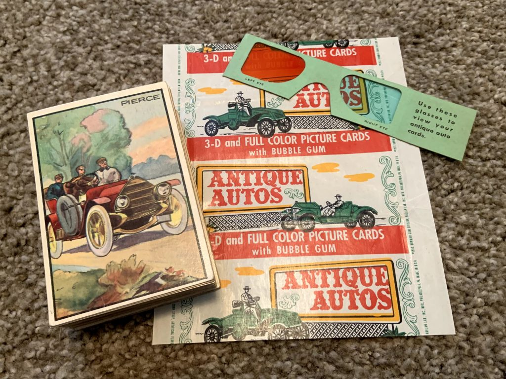 1953 Bowman Antique Autos - Stack of cards with wrapper and 3-D glasses