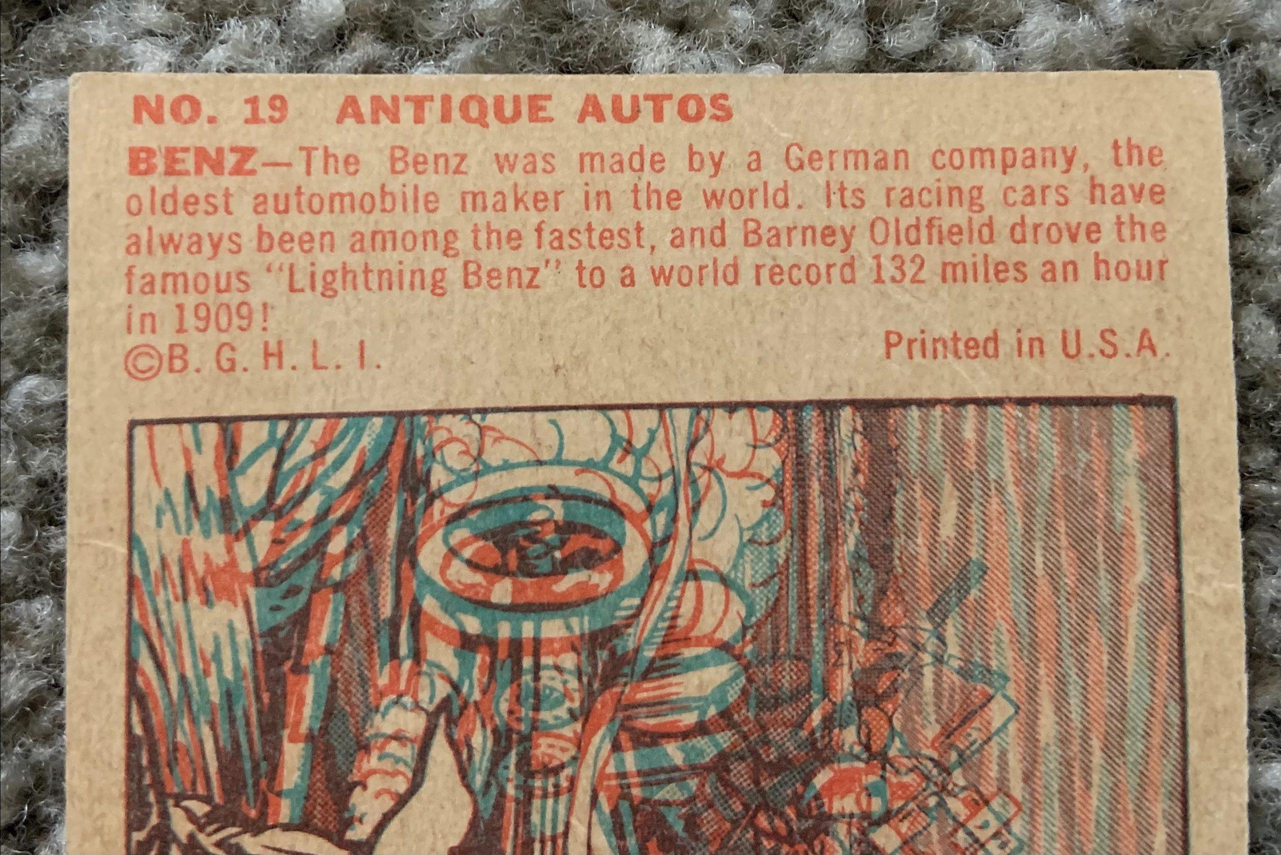 1953 Bowman Antique Autos - No. 19 Benz Racer copy on back