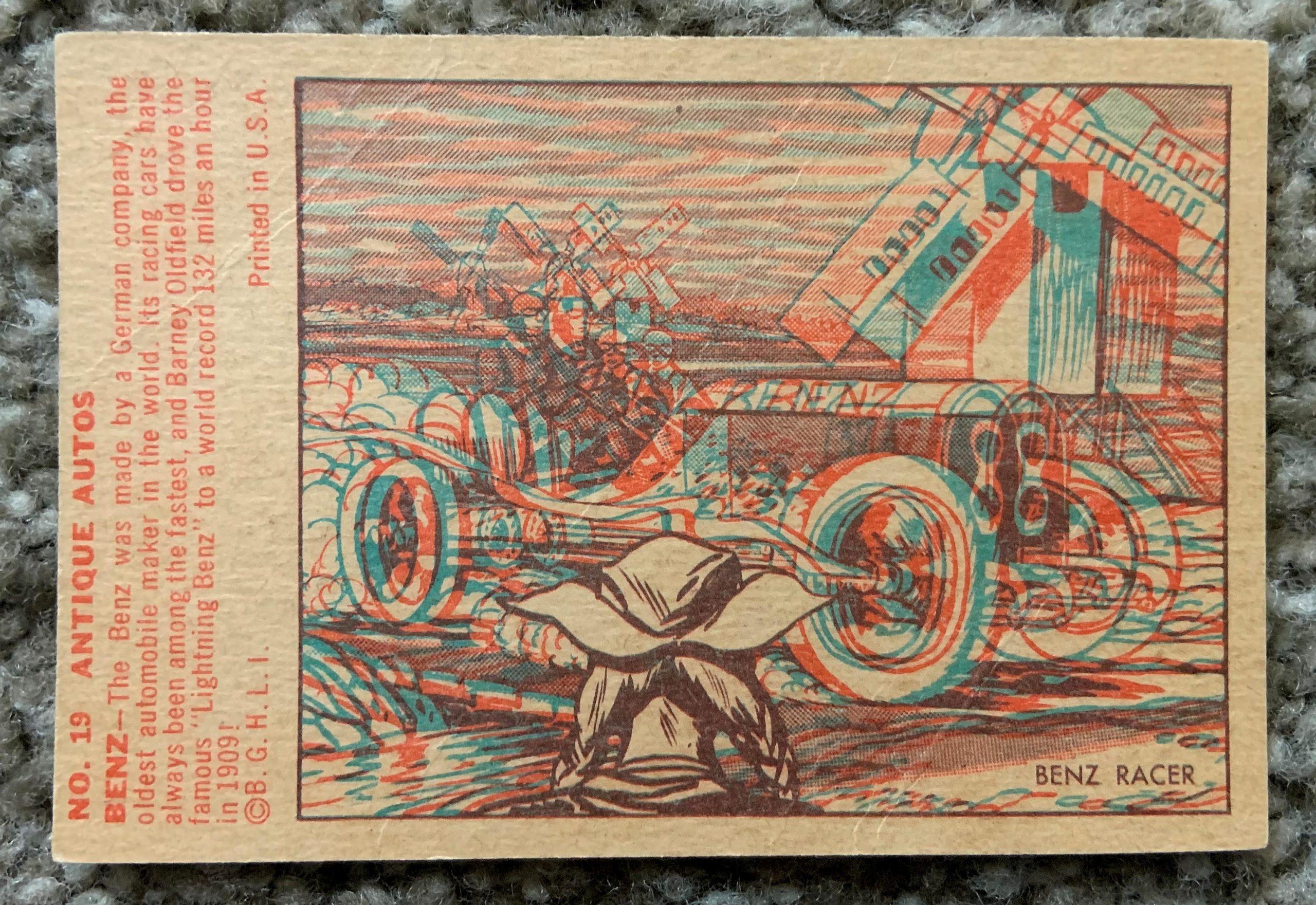 1953 Bowman Antique Autos - No. 19 Benz Racer back