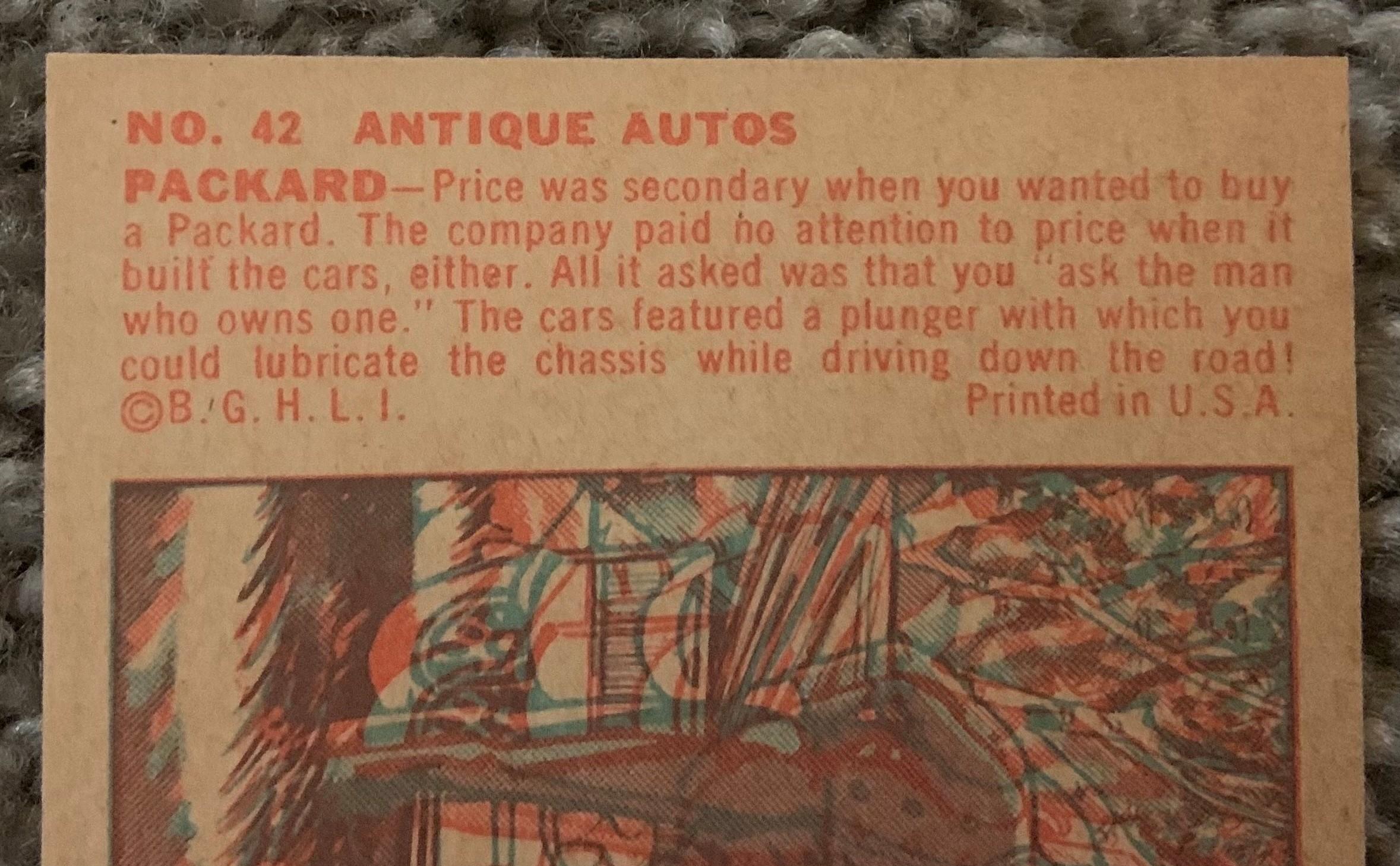1953 Bowman Antique Autos - No. 42 Packard copy on back