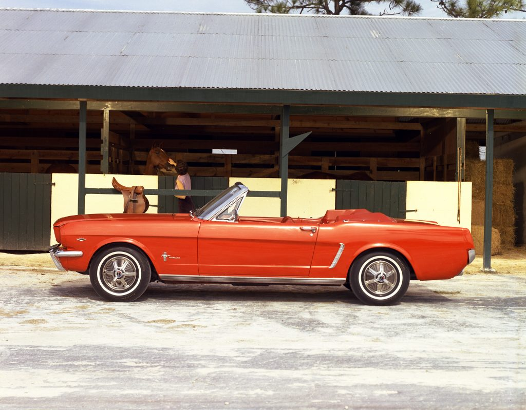 1965 Orange or Poppy Red Mustang convertible