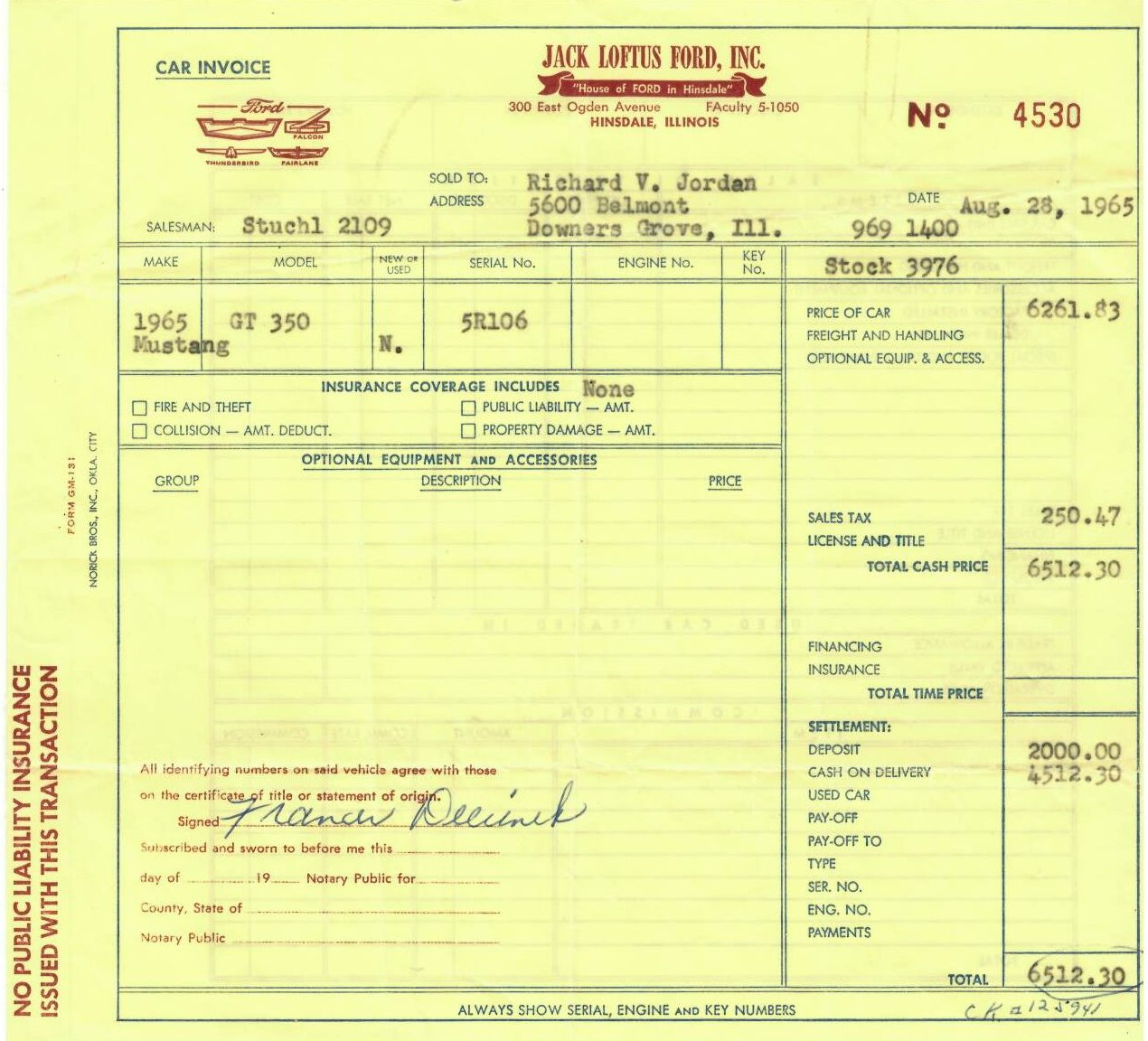 Shelby GT350R Fastback jack lotus ford invoice