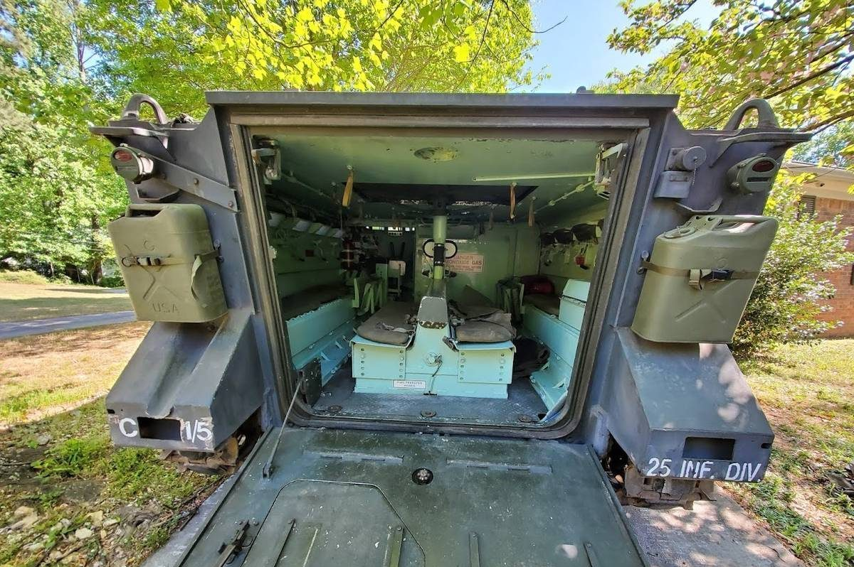 1966 XM734 APC rear gate open cargo box interior area