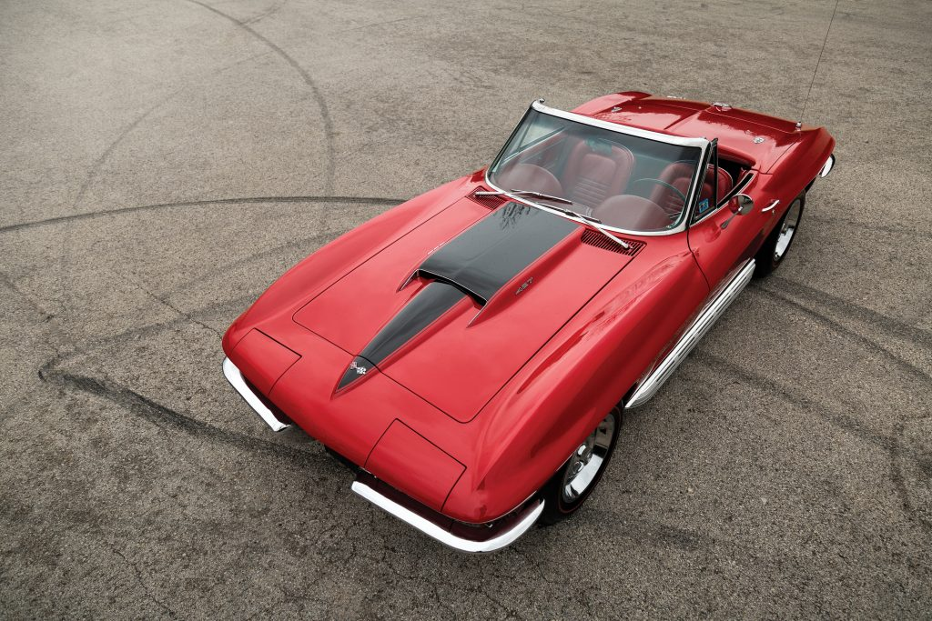 1967 Chevrolet Corvette Sting Ray 427 overhead front three-quarter